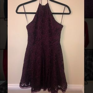 High neck Dark purple lace dress